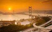 Tsing ma-bron i hong kong — Stockfoto