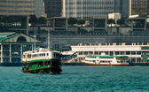 Ferry on Victoria harbor in Hong Kong — Stock Photo