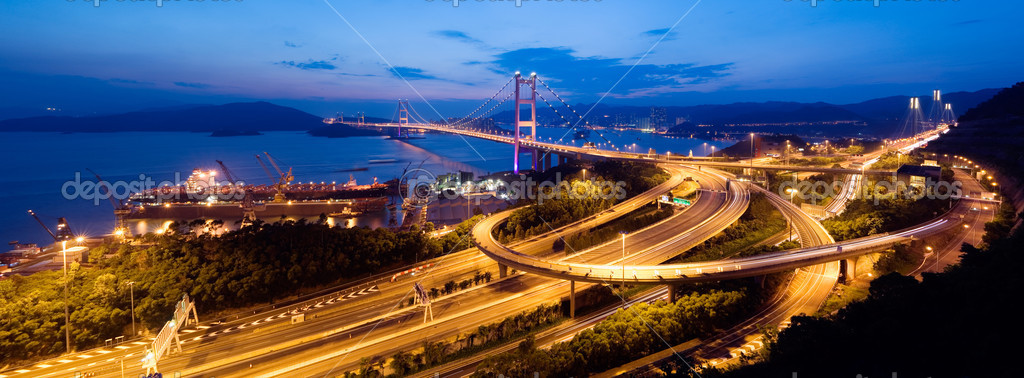 Beautiful panoramic night scenes of Tsing Ma Bridge in Hong Kong.  Stock Photo #2018636