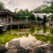 Chinese style house near the pond — Stock Photo