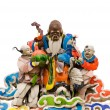 Three color Chinese god on roof — Stock Photo
