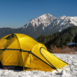 Tent on snow — Stock Photo