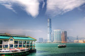 Green ferry berthed — Stock Photo