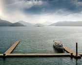 Boat with dock — Stock Photo