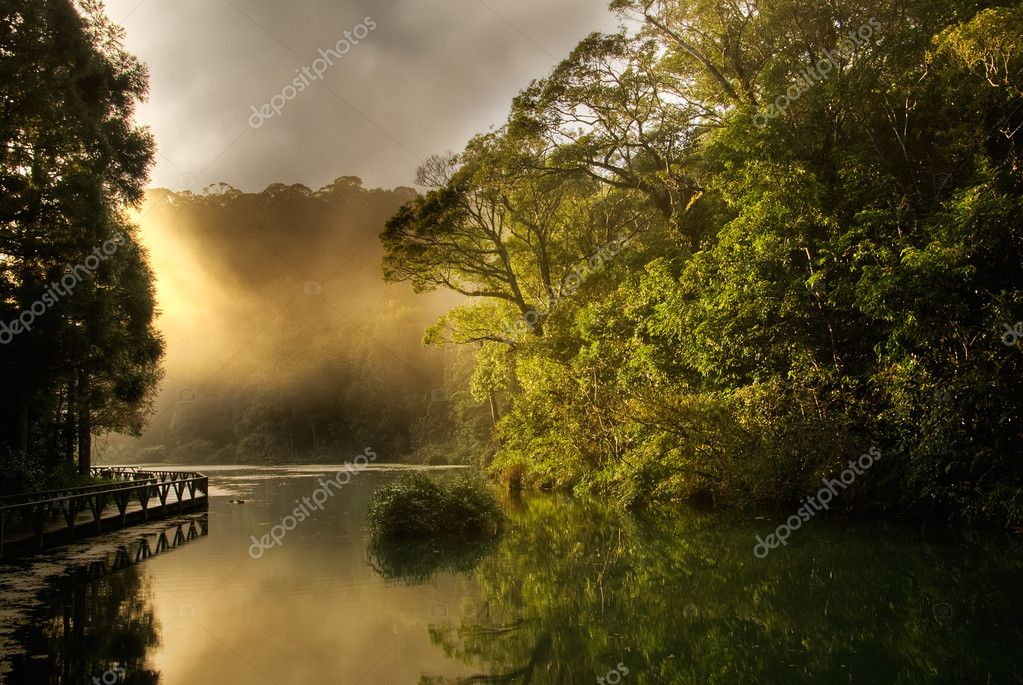 Landscape of morning sunrise with lake and forest. — Stock Photo #2020997