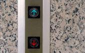 Výtah tlačítko nahoru a dolů, znamení — Stock fotografie