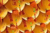 Lot of yellow chinese lantern — Stock Photo