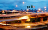 Interchange with cars light — Stock Photo