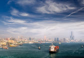 Cityscape of harbor — Stock Photo