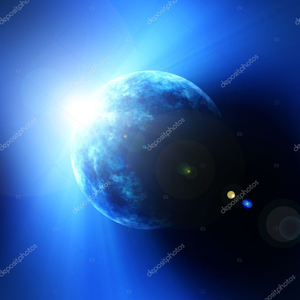 An illustration of a sunrise of a blue planet — Stock Photo #2020575