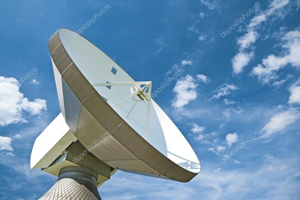 A photography of a sattelite dish and white cloud — Stock Photo #2024601