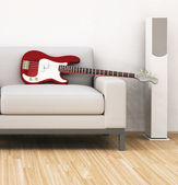 Sofa with guitar — Stock Photo