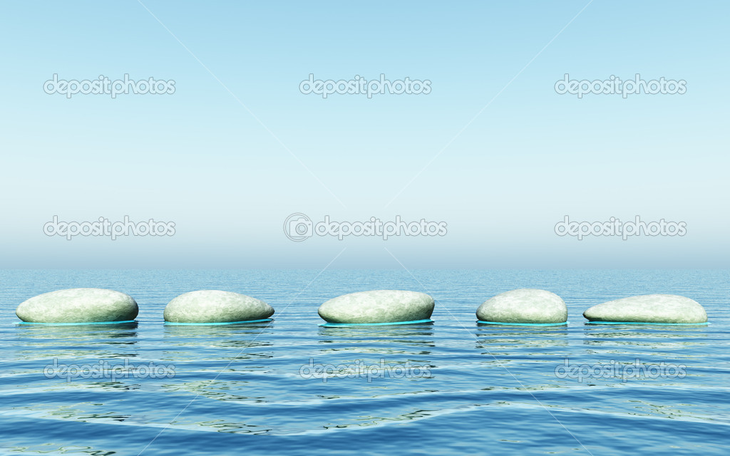 An illustration of step stones in the sea — Stock Photo #2121675