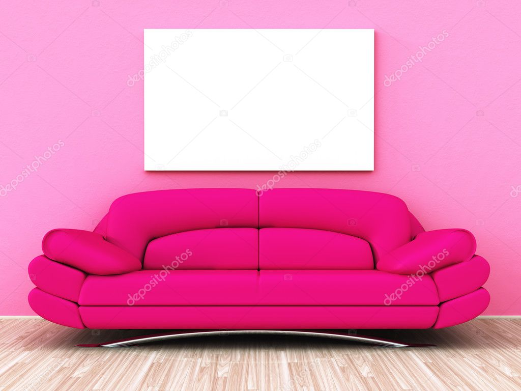 A powerful pink sofa with a white blank picture on the wall  Stock Photo #2121894