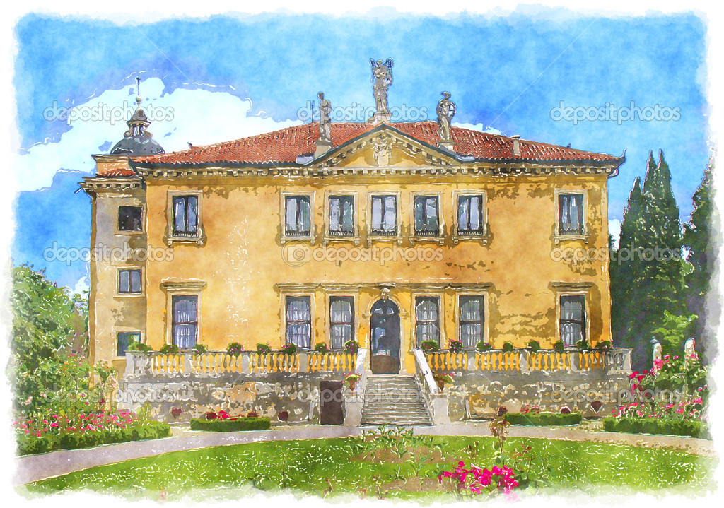 An illustration of a water color painting old house in Italy  Stock Photo #2409487