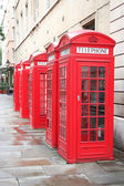 5 phone boxes — Stock Photo