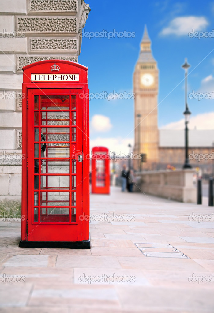 A photography of a red phone box in London UK — Stock Photo #2495669