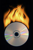 Burning compact disc — Stock Photo