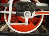 Red wheel with piston — Stock Photo