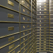 Stock Photo: Rows of luxurious safe deposit boxes