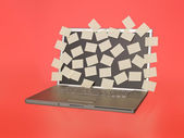 Laptop with with empty post-its — Stock Photo
