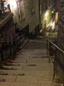 Alley with stairs at night — Stock Photo