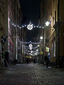Christmas street at night — Stockfoto