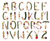 Алфавит, образованный овощи — Стоковое фото