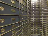 Rows of luxurious safe deposit boxes — Стоковое фото