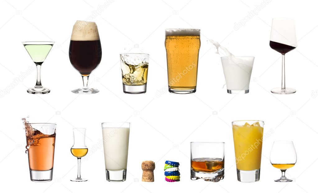 Collage of drinks isolated on white background  Stok fotoraf #2021837