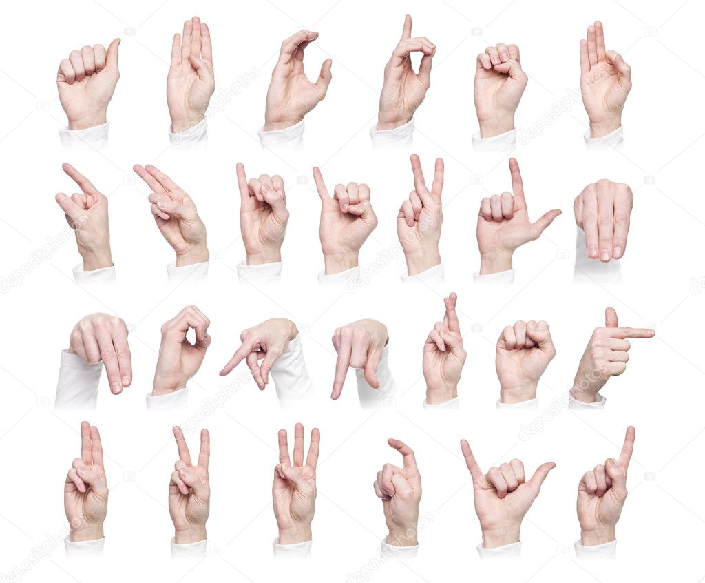Hands forming the international sign language isolated against a white background — Stock Photo #2029186
