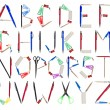 The Alphabet formed by office supplies — Stock Photo