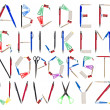 The Alphabet formed by office supplies - Stock Photo
