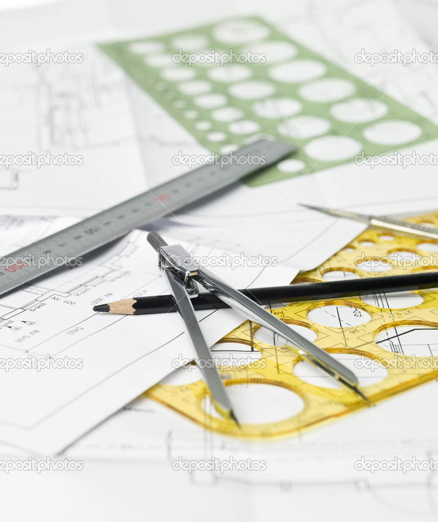 Drawing compass, pen and ruler on blueprints — Stock Photo #2069110