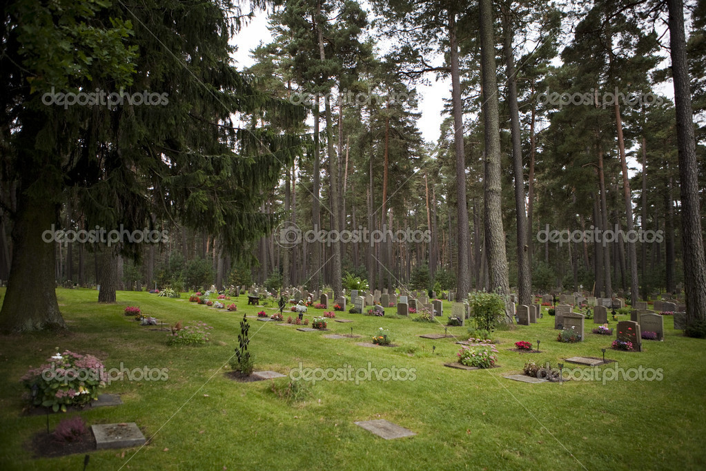A cemetery at day time with lots of tombstones  Stock Photo #2069882