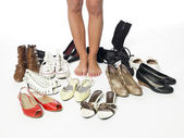 Shoes and legs — Stock Photo