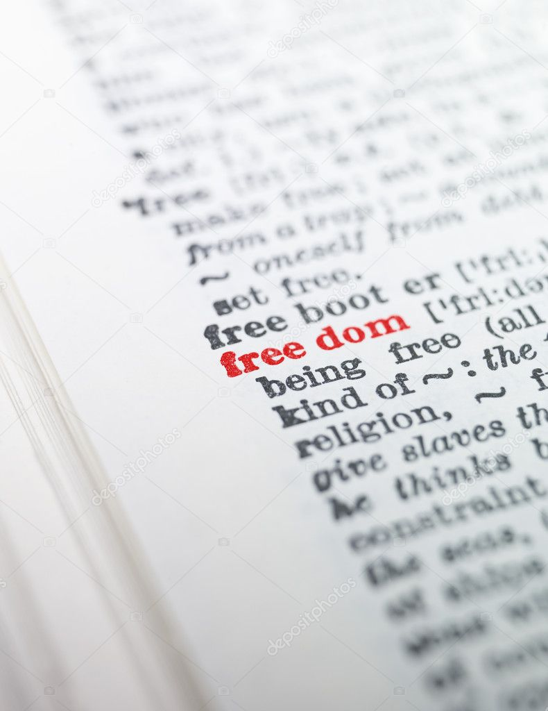 The word 'freedom' highlighted in a dictionary — Stock Photo #2094017