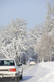 Cars on Winter Road — Stock Photo