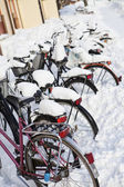 Fahrräder zur winterzeit — Stockfoto