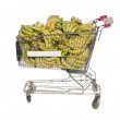 Shopping cart with bananas — Stock Photo