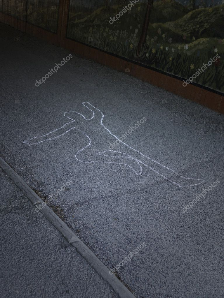 Contour of a person drawn at the asphalt  Stock Photo #2691681