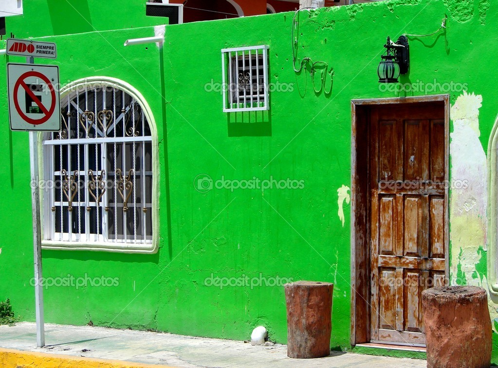 Bright Green House Bright Green Mexican House Stock Photo Mirage3 2039370