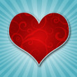 Red heart on a background — Foto Stock