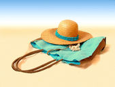 Pláž hat a kabelka — Stock fotografie
