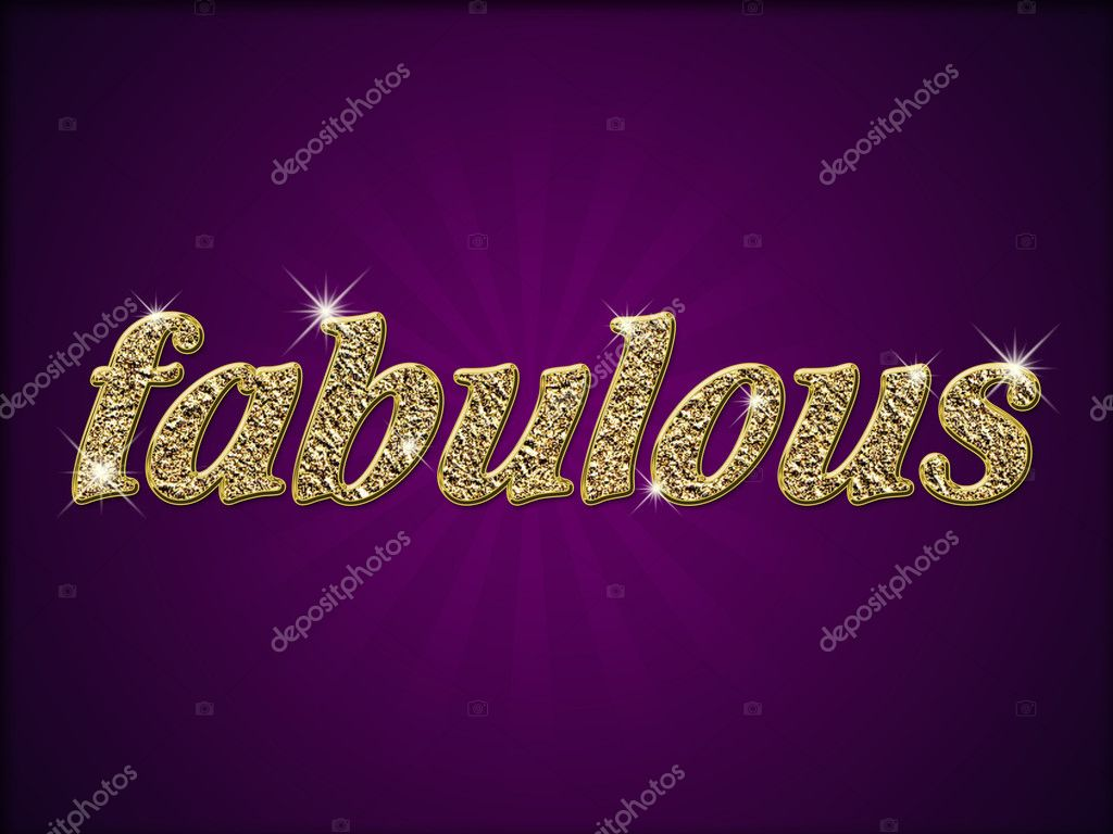 Word fabulous in gold style on purple background — Stock Photo #2017674