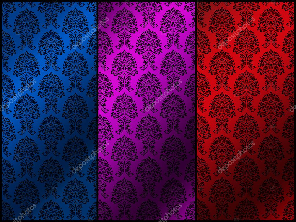 Floral retro pattern three colors — Stock Photo #2017736