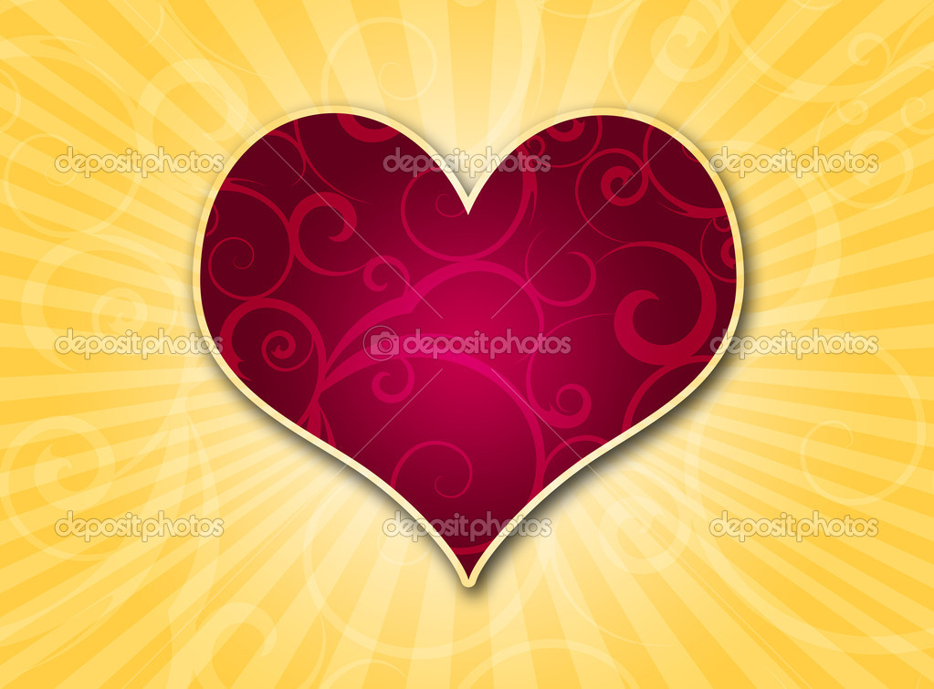 Heart on a color gradient background with rays of light — Stock Photo #2018134