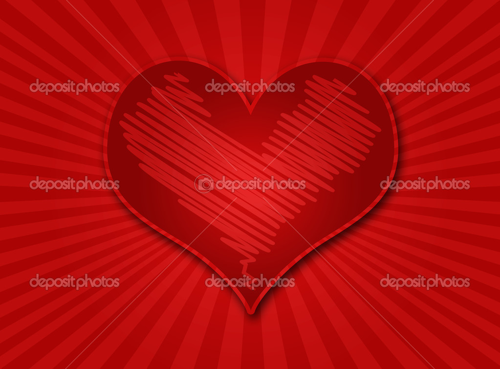 Heart on a color gradient background with rays of light — Stock Photo #2018611