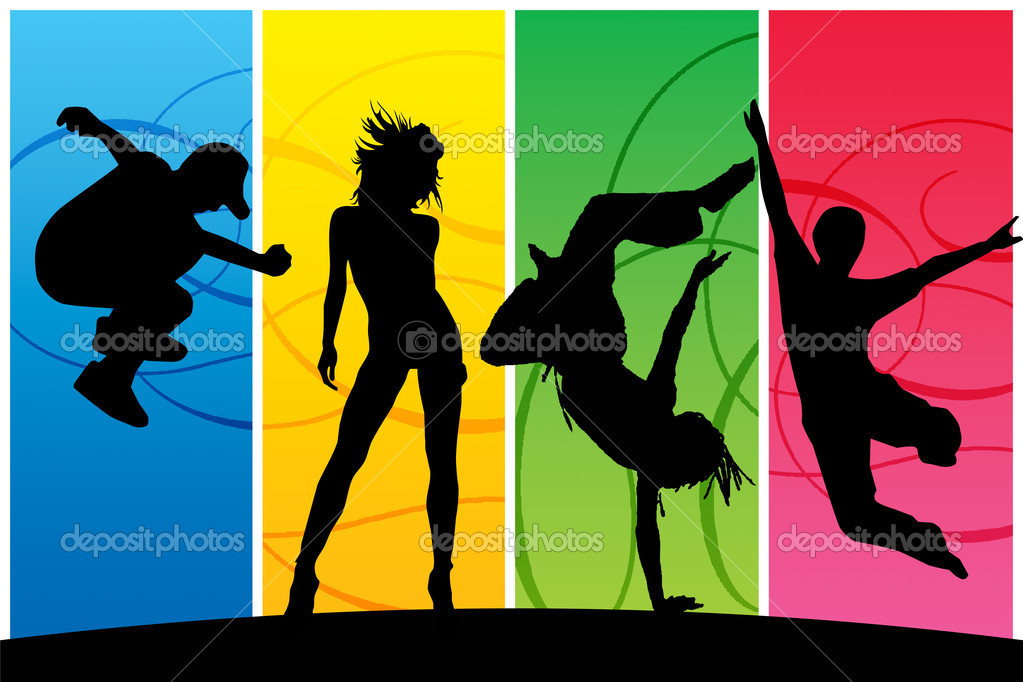 Silhouettes of dancing happy on colorful backgrounds — Stock Photo #2018716