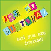день рождения приглашение шаблон — Cтоковый вектор